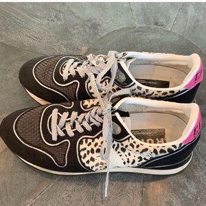 Golden Goose Leopard Print Running Sneakers